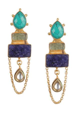 Statement Blue Stone Danglers