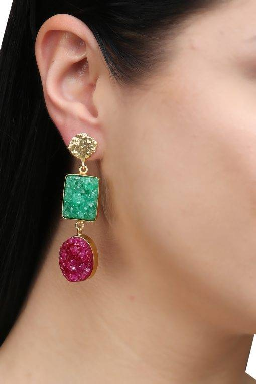 Green & Pink Natural Stone Dangler-2
