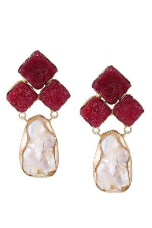 Maroon Stone Pearl Earrings-1