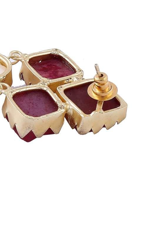 Maroon Stone Pearl Earrings