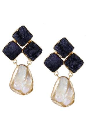 Black Stone Pearl Earrings-1