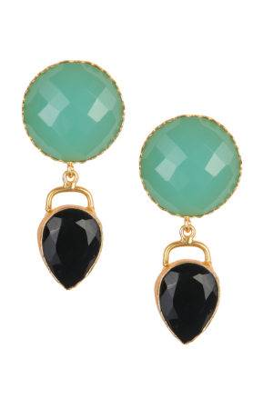 Natural Stones Statement Earrings- Black