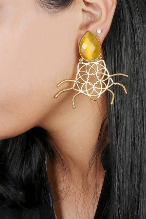 Yellow Stone Geometric Shape Earring2