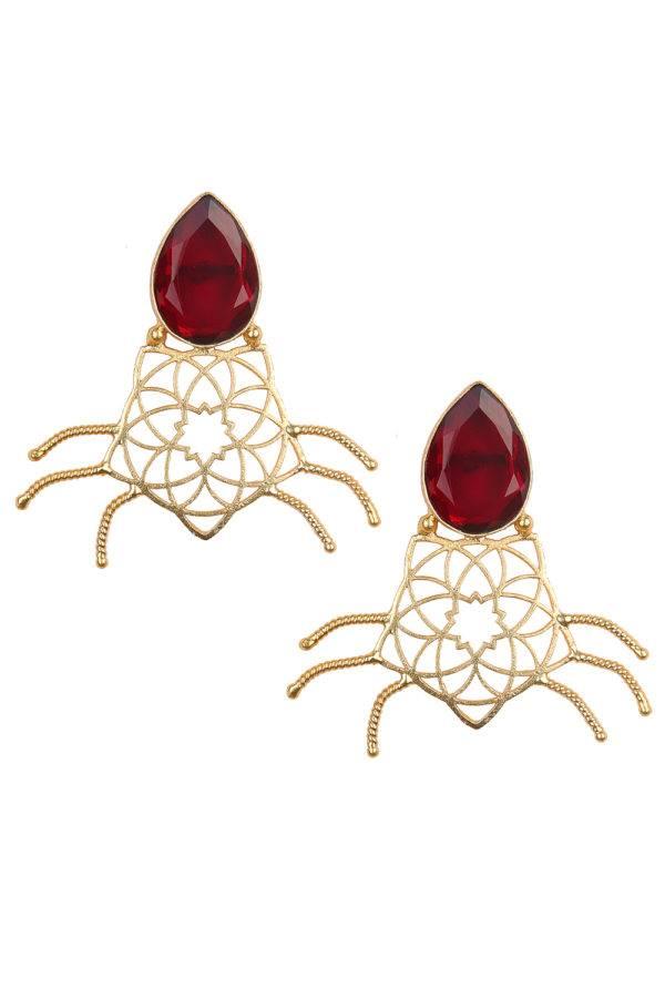 Maroon Stone Geometric Shape Earring
