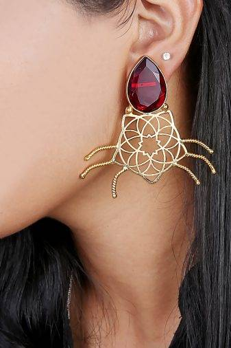 Maroon Stone Geometric Shape Earring-1