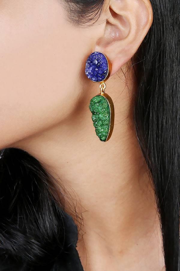 Blue & Green Natural Stones Earrings