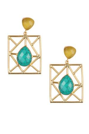 Lemon yellow & turquoise Blue Geometric Shape Statement Earring