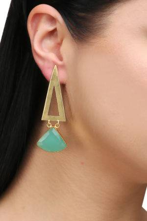 Green Triangle Danglers
