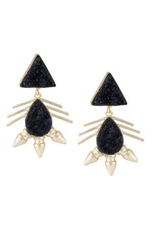 Monochrome Black Gold Druzy Stone Earrings