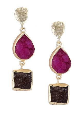 Pink & Brown Stones Earrings
