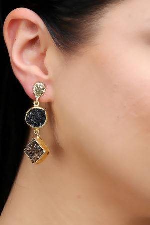 Blue & Brown Stones Earrings