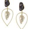 Black Pearl Golden Leaf Foil Earring