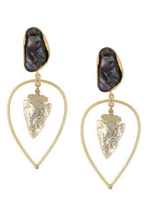 Black Pearl Golden Leaf Foil Earring