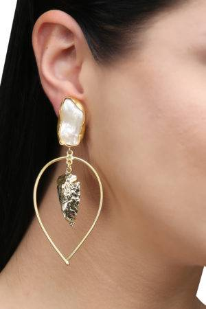 White Pearl Golden Leaf Foil Earring