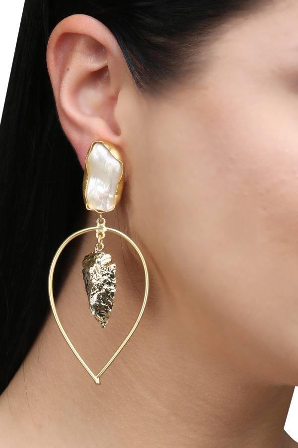 White Pearl Golden Leaf Foil Earring