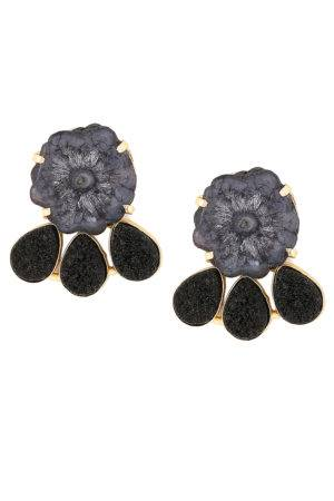 Black Agate Stones Statement Earrings