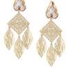Golden Leaf Pearl Earrings-1