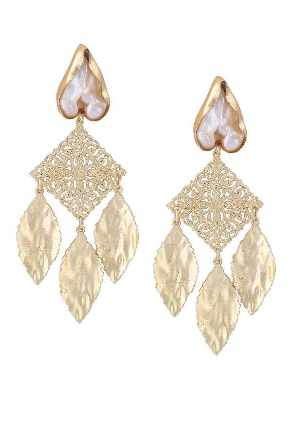 Golden Leaf Pearl Earrings-1