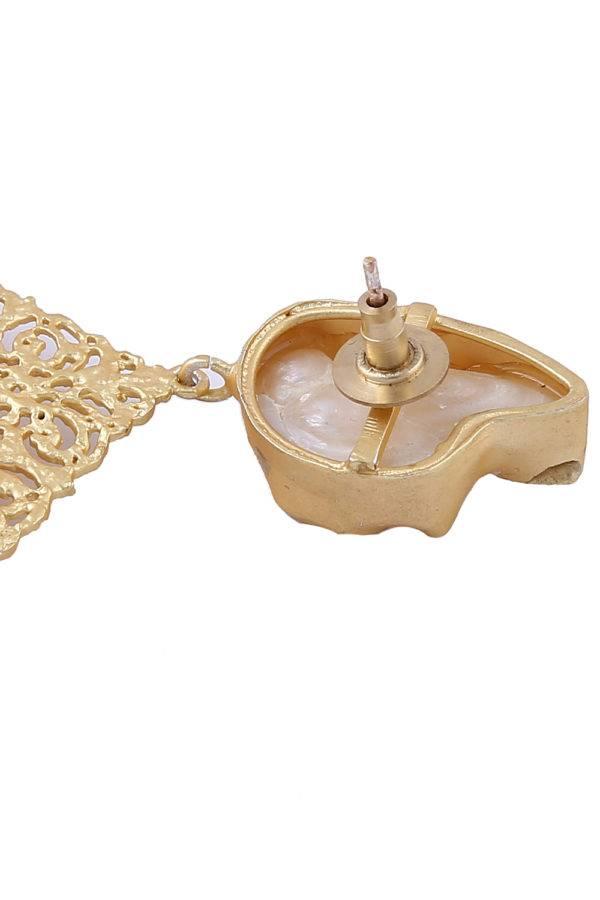 Golden Leaf Pearl Earrings-3