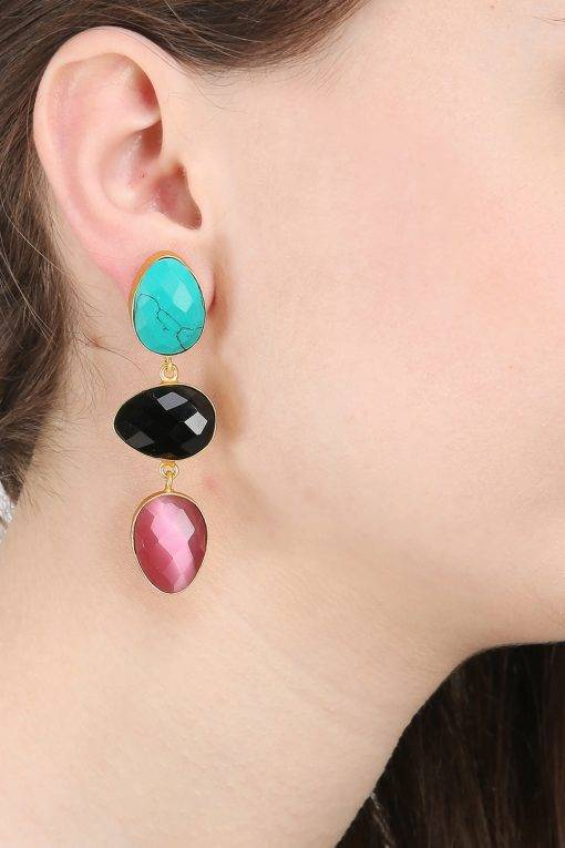 Three colour Stone Earring