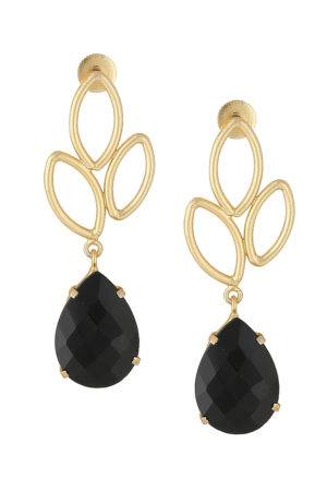 Black Gold Leaf Drop Earring-1
