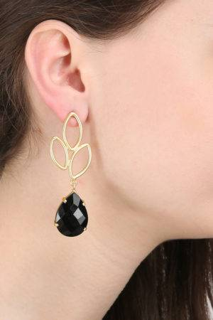 Black Gold Leaf Drop Earring