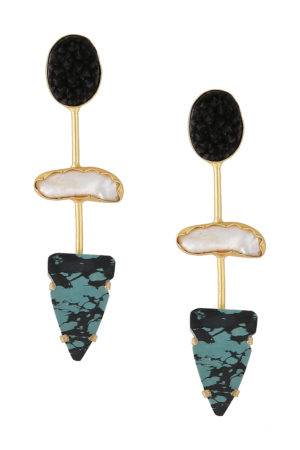 Statement Black Stone Long Earring