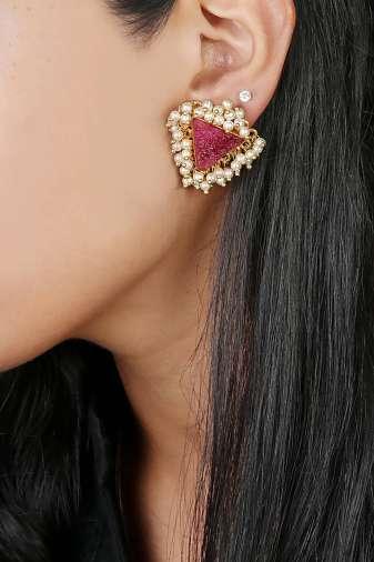 Pink Natural Stones & Pearl Stud
