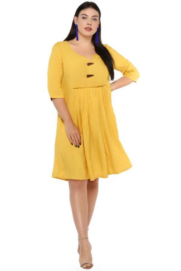 Mustard Flared Dress-2