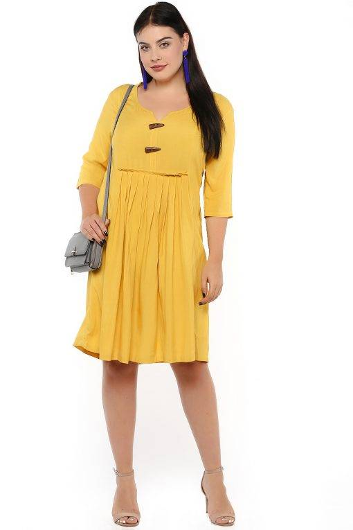 Mustard Flared Dress-3