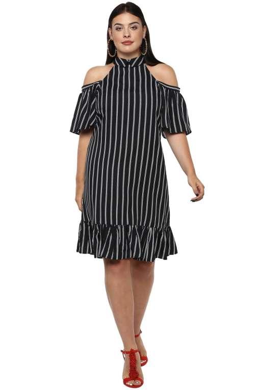 Plus Size Strips Cold Shoulder Dress-1