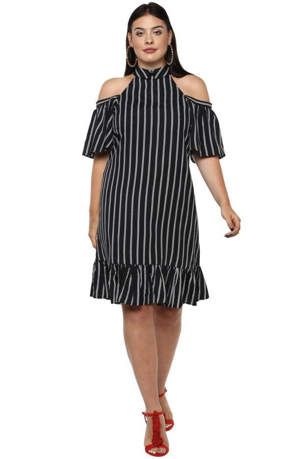 Plus Size Strips Cold Shoulder Dress-1