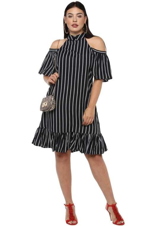 Plus Size Strips Cold Shoulder Dress-2
