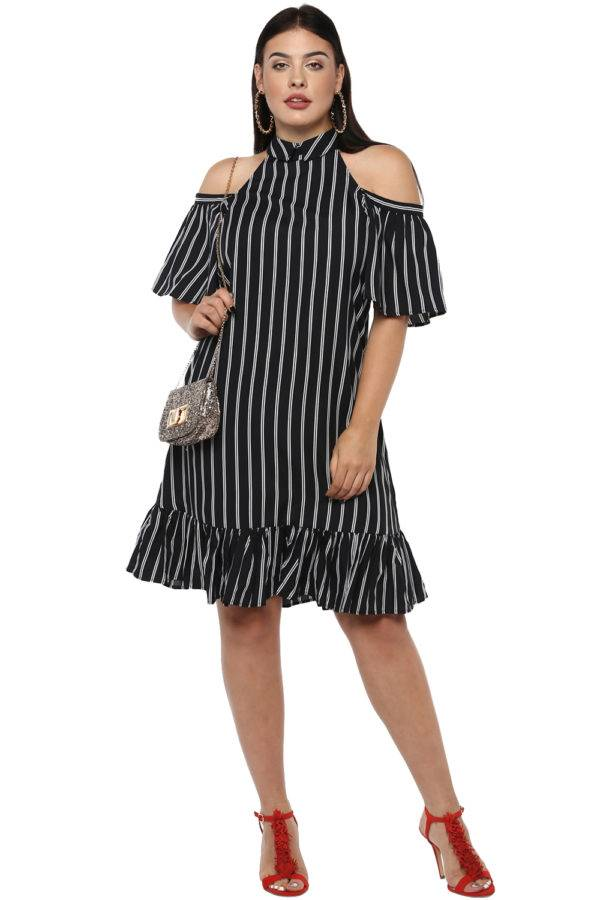 Plus Size Strips Cold Shoulder Dress-2