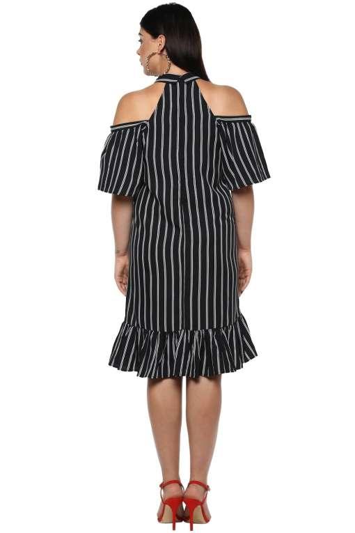 Plus Size Strips Cold Shoulder Dress-4