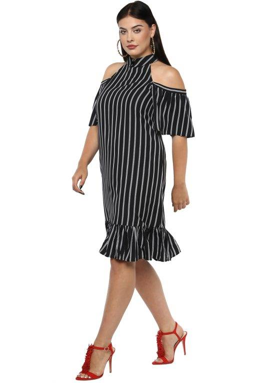 Plus Size Strips Cold Shoulder Dress-3