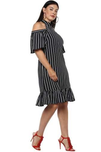 Plus Size Strips Cold Shoulder Dress-5