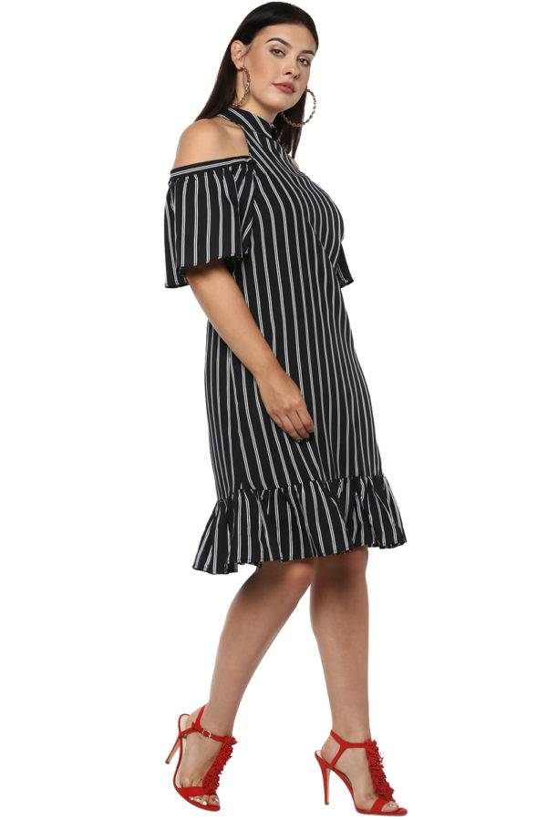 Plus Size Strips Cold Shoulder Dress-5