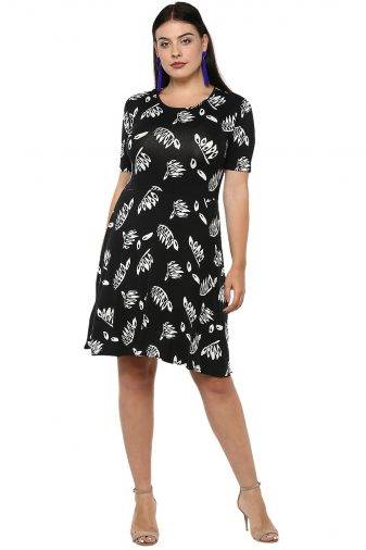 Plus Size Monochrome Skater Dress-1