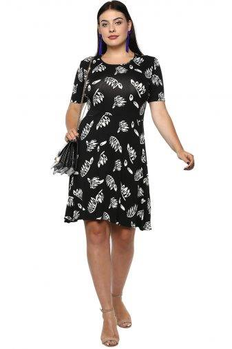 Plus Size Monochrome Skater Dress-2