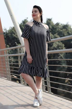 Plus Size Strips Cold Shoulder Dress
