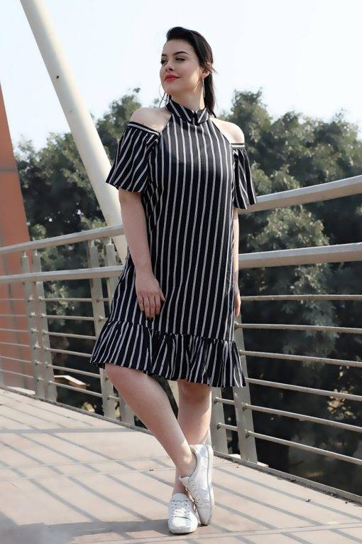 Plus Size Strips Cold Shoulder Dress