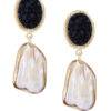 Black Stone Pearl Earrings