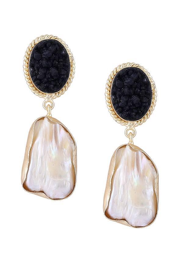 Black Stone Pearl Earrings