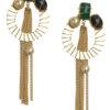 Stones with Tassel Earrings