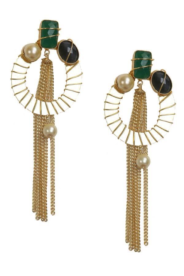 Stones with Tassel Earrings
