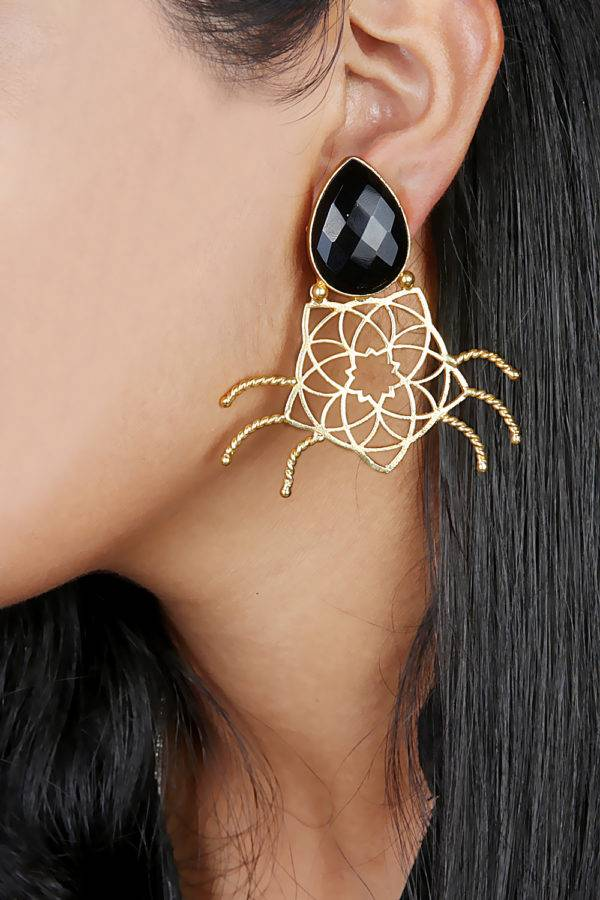 Black Stone Geometric Shape Earring