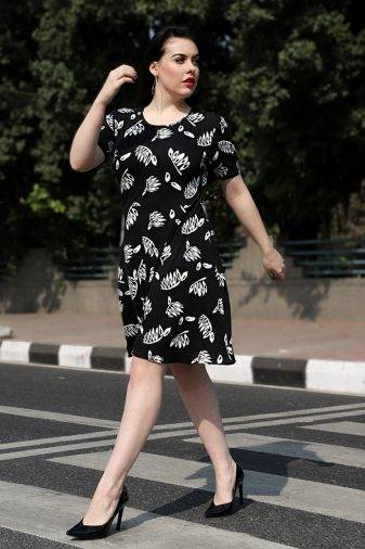 Plus Size Monochrome Skater Dress