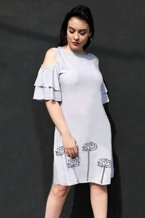Plus Size Grey Flared Dress