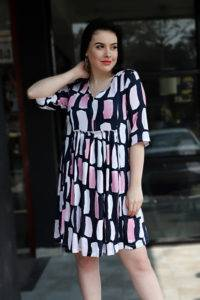 Plus Size Multicolor Flared Dress